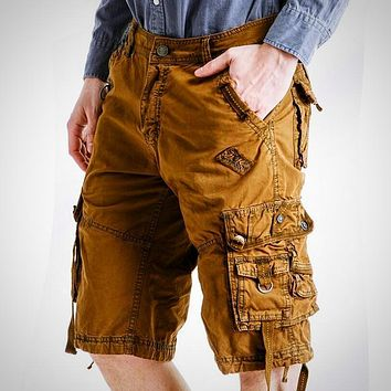 Fashion Sexy Quality New Summer Calf-Length Cargo Mens Cotton Shorts Multi-pocket Solid Male Puls Size Beach Shorts Fat