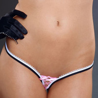 Lace Up Two Tone Thong Panties