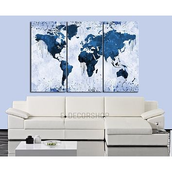 White Backgrounded Blue WORLD MAP Canvas Print 3 Panel Canvas Triptych Paint Splash World Map
