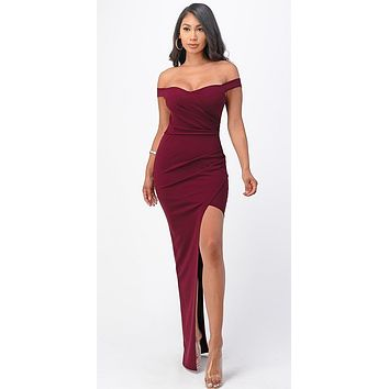 Long Fitted Burgundy Party Dress Asymmetrical Open Side Off the Shoulder
