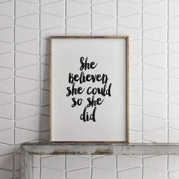 "Affiche Scandinave ""She Believed She Could So She Did"" quote printable,inspirational words,typography art,quote printable,dorm room decor"