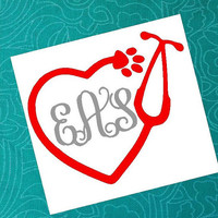 Paw Print Stethoscope Decal | Veterinarian | Animal Lover | Decal | Car Decal | Window Decal | Laptop Sticker | Dog Decal | Sticker| Animal