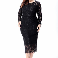 Tea Length Long Sleeves Fitted Body Hugging Plus Size Lace Evening Dress Party Formal Gown Mother of the Bride Dresses
