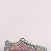 Bamboo Encrusted Sparkling Glitter Low Top Lace Up Sneaker   UrbanOG