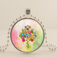 """Victorian flower tree, 1"""" round glass and metal Pendant necklace Jewelry."""