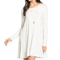 Ruffled Long Sleeve Dress, Ivory