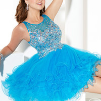 Beaded Embellished Scoop Neck Short Formal Prom Dress By Hannah S 27919