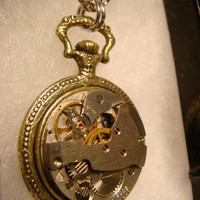Steampunk  Pocket Watch Pendant Necklace with Upcycled Watch Part Movement with Gears (1794)