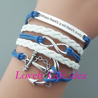 Anchor bracelet,infinity bracelet,Where there's a will there's a way bracelet,silver/bronze charm,white Braided Leather light navy rope.