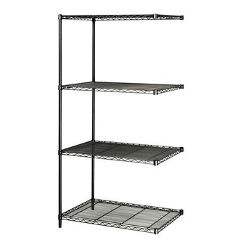 Safco Industrial Extra Strength Steel Shelving Add-On Storage Unit 24 x 36 Black
