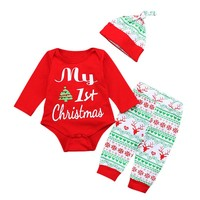 My First Christmas Infant Baby Boys Girls Outfits Clothes Romper Pants Leggings Hat 3PCS Set Babies Clothes Free Shipping