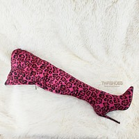 """Boom Hot Pink Leopard 4"""" High Heel Wide Top Back Zipper Pointy Toe Thigh Boots"""