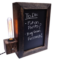 Chalkboard Sign Edison Lamp, Brown