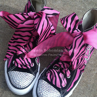 Painted Converse High Tops HOT Pink and Black Diva Personalized with Mega BLING CHUCKS for toddler girls