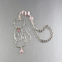 """Wire Cat """"Cat Lady"""" W. Pink Crystals Rear View Mirror Charm/Car Accessories/Car Charm For Car Mirror/Rear View Mirror Cat Car Ornament"""
