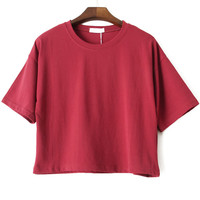 Wine Red Short Sleeve Cropped T-shirt