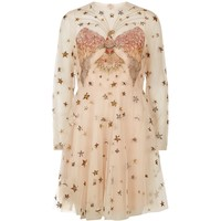Valentino Beaded Eagle Tulle Mini Dress Beige | Harrods