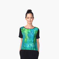 'Ocean Wonder Watercolor Abstract' Women's Chiffon Top by Rosie Brown
