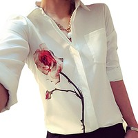 Spring Shirts Women Long Sleeve Rose Flower Blouse Women Chiffon Rose Blouse Women Work Tops Turn Down Collar Chiffon Shirts