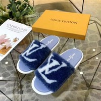 LV Louis Vuitton Sandals Flat Slippers Flip Flops Blue Women Comfortable Shoes