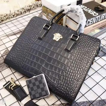 VERSACE MEN'S NEW STYLE LEATHER BRIEFCASE BAG CROSS BODY BAG