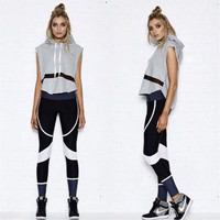 Women Casual Sleeveless Hoodie Sweater And Sports Tight Pants Two Piece a10094