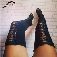 NEW Spring Autumn High Heel Over Knee Boots Sandals 2017 Peep toe Women Shoes Lace Up Boots Ladies Boots Shoes Big Size 40 Black