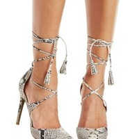 Snake Strappy Lace-Up Heels by Charlotte Russe