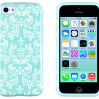DandyCase 2in1 Hybrid High Impact Hard Sea Green Floral Pattern + Silicone Case Cover For Apple iPhone 5C + DandyCase Screen Cleaner