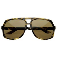 Premium Large Square Retro Aviator Sunglasses 8363