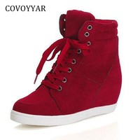 COVOYYAR Autumn High Top Women Sneakers 2018 Winter Hidden Heel Platform Wedge Casual Shoes Lace Up Flock Women Shoes WSN666