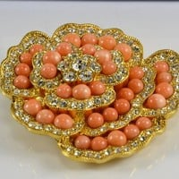 Brooch Coral Beads Swarovski Crystals Camrose & Kross JBK Jacqueline Bouvier Kennedy Jackie O Reproduction Jewelry Gold Plated Large