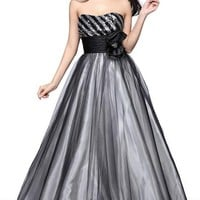 Joydress Women's Yarn Sequin Bow Princess Strapless Floor-length Dress Black