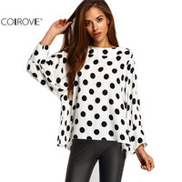 2016 Spring Wear Women Hot Sale Vintage Tops Latest Cute Black Polka Dots Long Batwing Sleeve Round Neck White Blouse