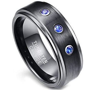 Black Engagement Rings For Her Black Tungsten Carbide Three Stones Step With Blue Sapphire