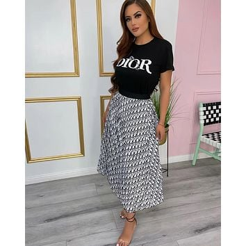 DIOR Women Fashion Short sleeves Top Skirt Two-piece