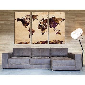 Triptych Large Art Print Brown Watercolor World Map Print Sephia World Map Grunge Watercolor