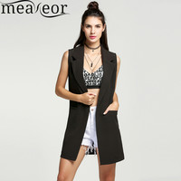 Meaneor Brand waistcoat Women Autumn Sleeveless Vest Jacket Long Thin Cardigan Joker Coat Outwear for Women Size M~XXL 3 Colors