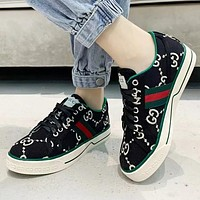 GUCCI Fashion New Stripe Embroidery More Letter Running Sports Leisure Running Shoes Black