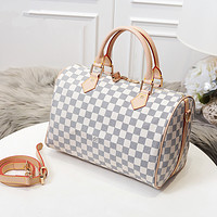 Louis Vuitton LV Women Fashion Leather Satchel Shoulder Bag Handbag Crossbody White Tartan