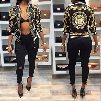 Versace new autumn digital printing printed long sleeve jacket jacket thin section