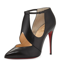 Christian Louboutin Dictata Cutout Leather Red Sole Pump, Black