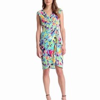 London Times Women's Mock Wrap Dress