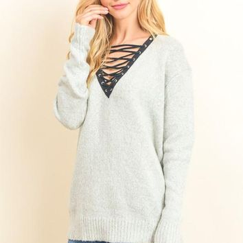 Lace-Up Knit Sweater (Grey)
