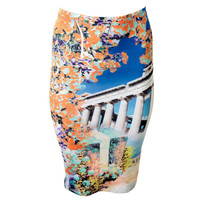 Clover Canyon Womens Stretch Printed Pencil Skirt