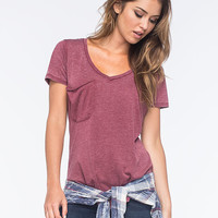 Others Follow Womens Pocket Tee Burgundy  In Sizes