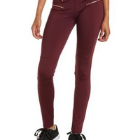 Oxblood Active Leggings with Decorative Zippers by Charlotte Russe