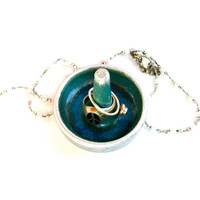 Tiny Ring Dish in Green, Blue and Silver - Ceramic Ring Holder - Jewelry Dish