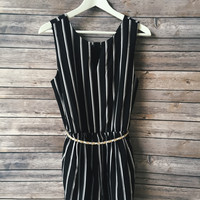 Vertical Striped Romper (Black)