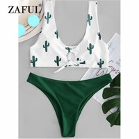 ZAFUL Cactus Knot Bikini Set Swimwear Women Swimsuit Plunging Neck Low Waist Contrast Thong Bikini Biquni Cactus Bathing Suit